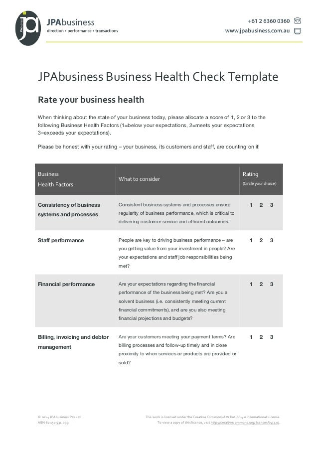 Jpabusiness business health check template jpabusiness business health check template 2014 jpabusiness pty ltd this work is licensed under accmission Gallery