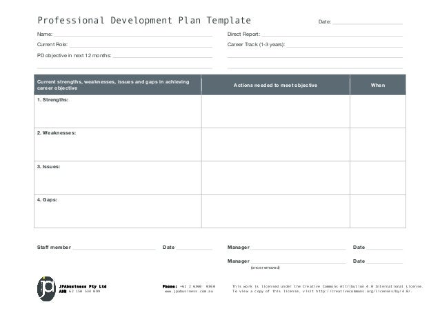 Professional Development Plan Template Date: Name: Direct Report ...