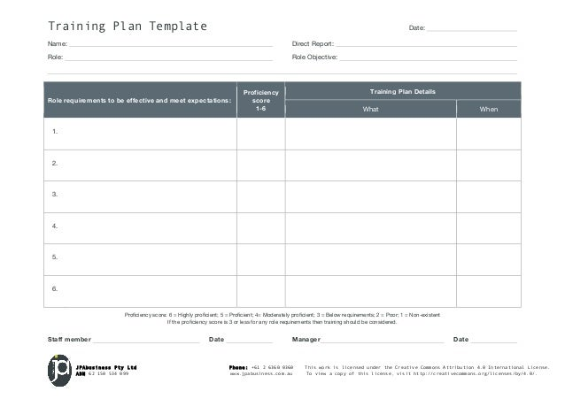 JPAbusiness Staff Training Plan template