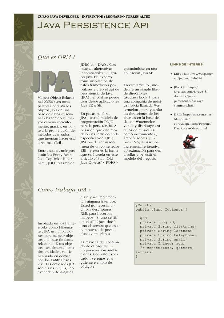 CURSO JAVA DEVELOPER - INSTRUCTOR : LEONARDO TORRES ALTEZ   Java Persistence Api   Que es ORM ?                           ...