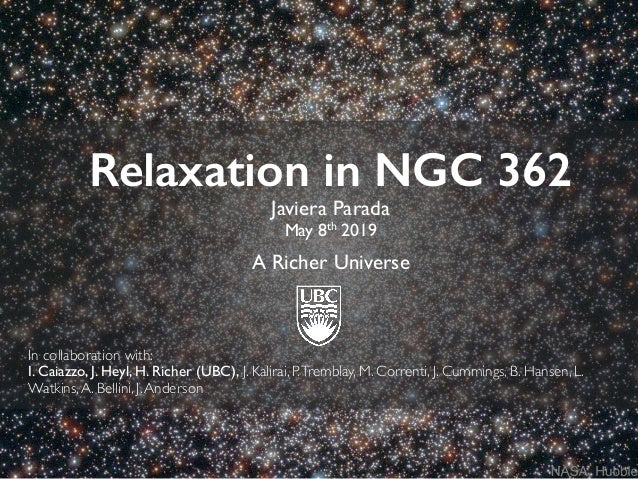 Relaxation in NGC 362 Javiera Parada May 8th 2019 A Richer Universe In collaboration with: I. Caiazzo, J. Heyl, H. Richer ...