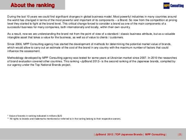 JpBrand 2012 - TOP 100 Japanese Brands Slide 2