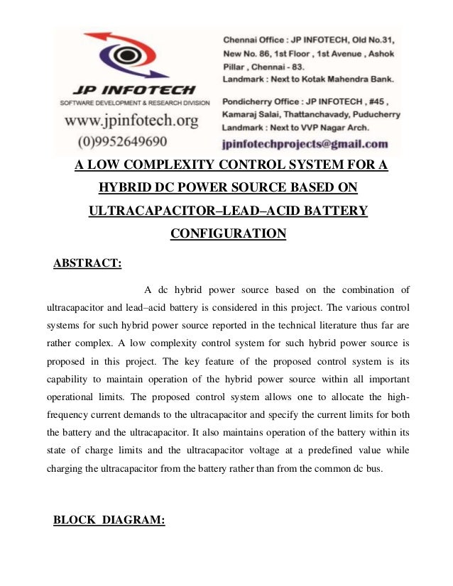 A LOW COMPLEXITY CONTROL SYSTEM FOR A  HYBRID DC POWER SOURCE BASED ON  ULTRACAPACITOR–LEAD–ACID BATTERY  CONFIGURATION  A...