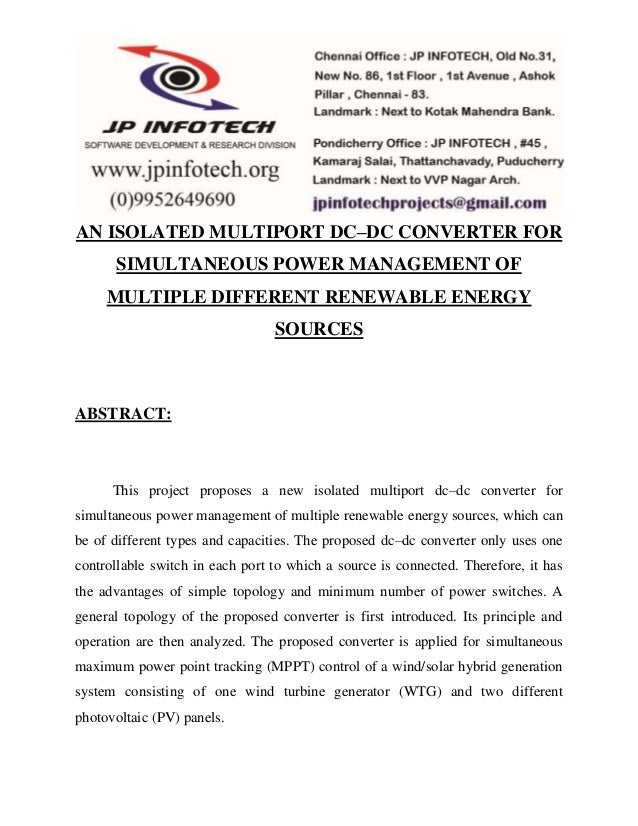 AN ISOLATED MULTIPORT DC–DC CONVERTER FOR  SIMULTANEOUS POWER MANAGEMENT OF  MULTIPLE DIFFERENT RENEWABLE ENERGY  SOURCES ...