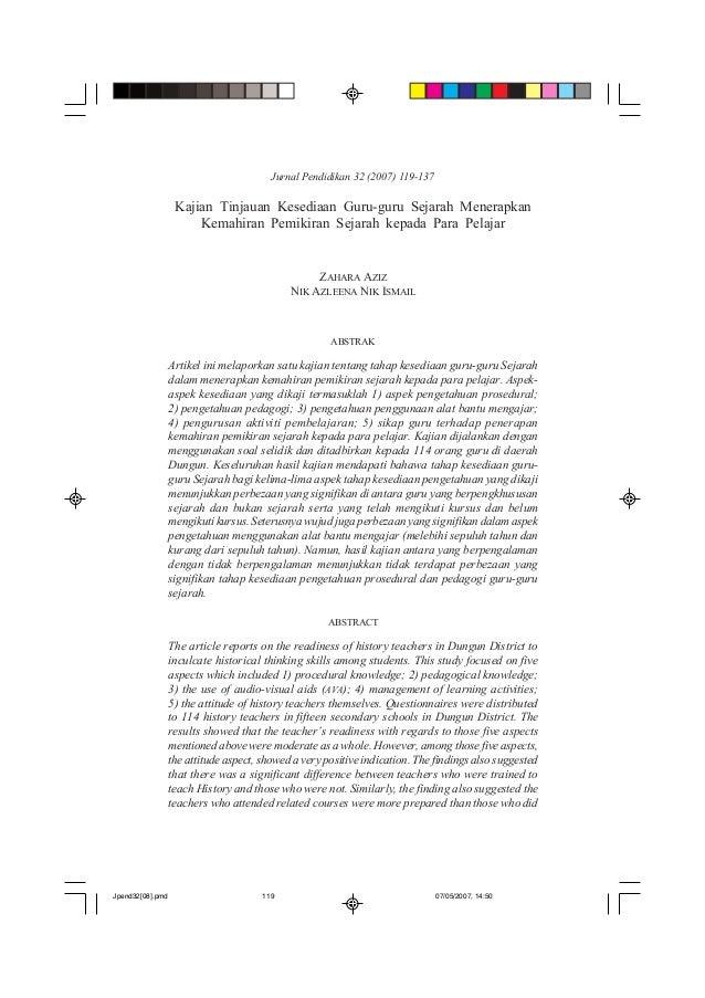 Jurnal Pendidikan 32 (2007) 119-137              Kajian Tinjauan Kesediaan Guru-guru Sejarah                              ...