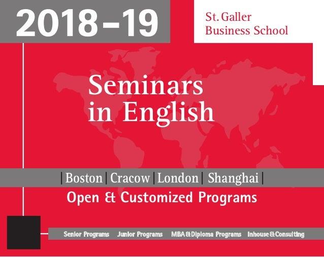 Seminars in English, 2018-2019, St. Galler Business School