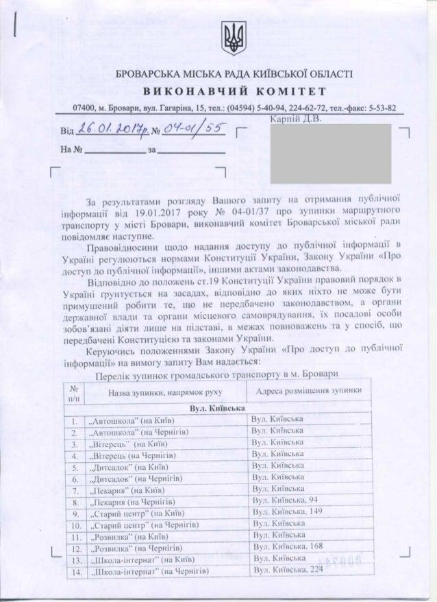 Перелік зупинок маршруток у м. Броварах (26.01.2017)