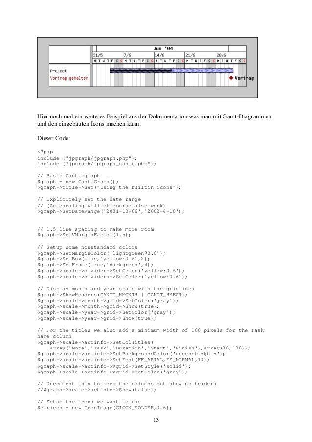 Hier noch mal ein weiteres Beispiel aus der Dokumentation was man mit Gantt-Diagrammen  und den eingebauten Icons machen k...