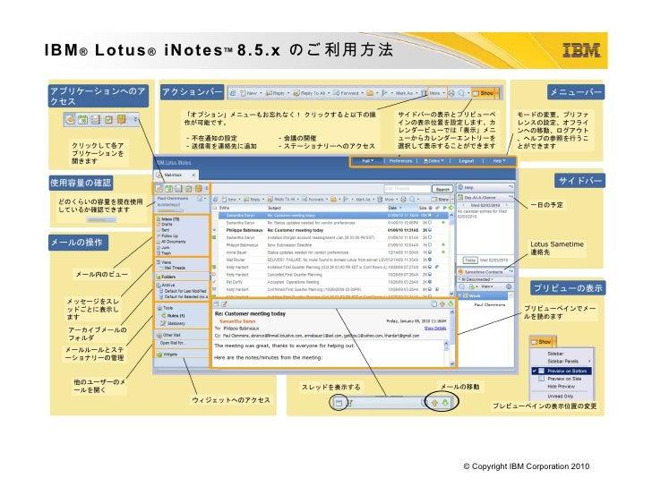 Lotus iNotes 8.5.x Reference Card (Japanese version)