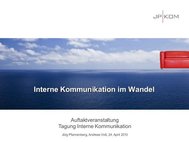 AuftaktveranstaltungTagung Interne KommunikationJörg Pfannenberg, Andreas Voß, 24. April 2013Interne Kommunikation im Wand...