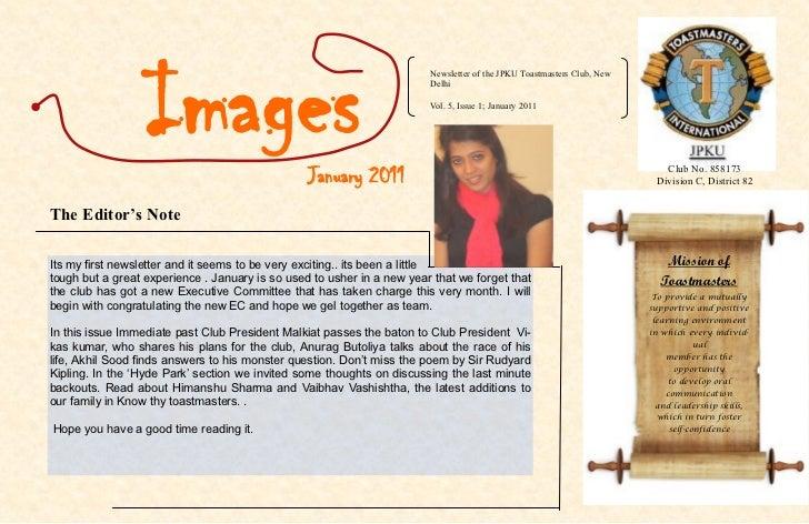 Images                                                                        Newsletter of the JPKU Toastmasters Club, Ne...