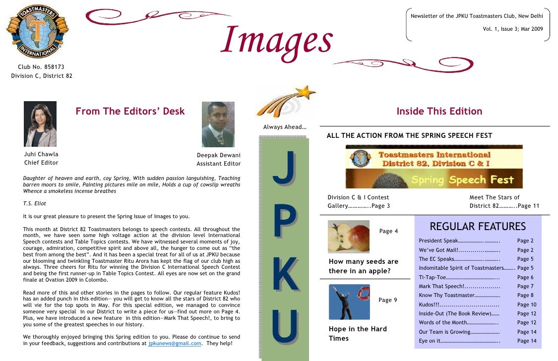 Newsletter of the JPKU Toastmasters Club, New Delhi       Club No. 858173                                                 ...