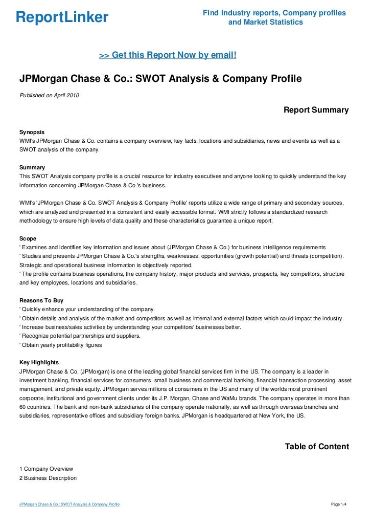 jp morgan chase swot analysis Swot jpm - download as word doc (doc / docx), pdf file (pdf), text file (txt)  or read  banking system-traditional approach and data envelopment analysis pdf  (jpmorgan chase) is a financial holding company, providing investment.