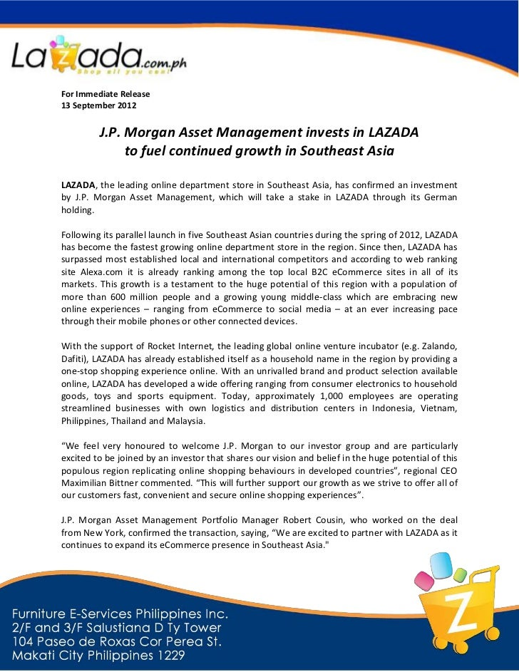 For Immediate Release13 September 2012         J.P. Morgan Asset Management invests in LAZADA              to fuel continu...