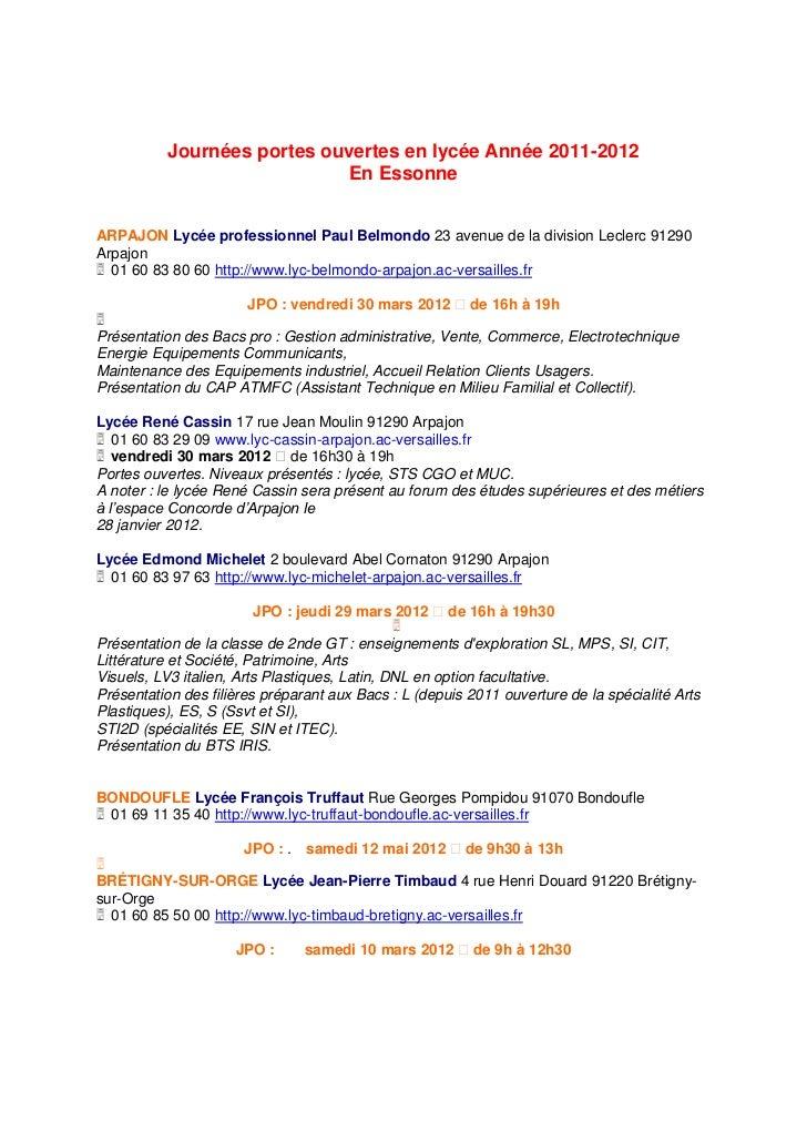 Journées portes ouvertes en lycée Année 2011-2012                              En EssonneARPAJON Lycée professionnel Paul ...