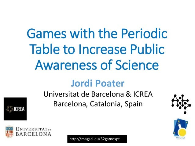 http://magsci.eu/52gamespt Games with the Periodic Table to Increase Public Awareness of Science Jordi Poater Universitat ...