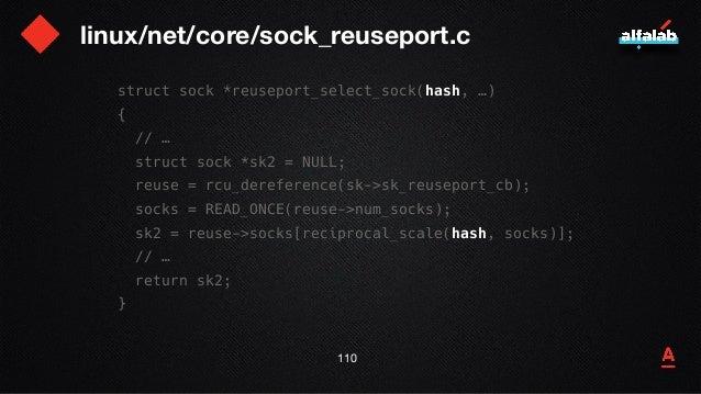 linux/net/core/sock_reuseport.c 111 struct sock *reuseport_select_sock(hash, …) { // … struct sock *sk2 = NULL; reuse = rc...