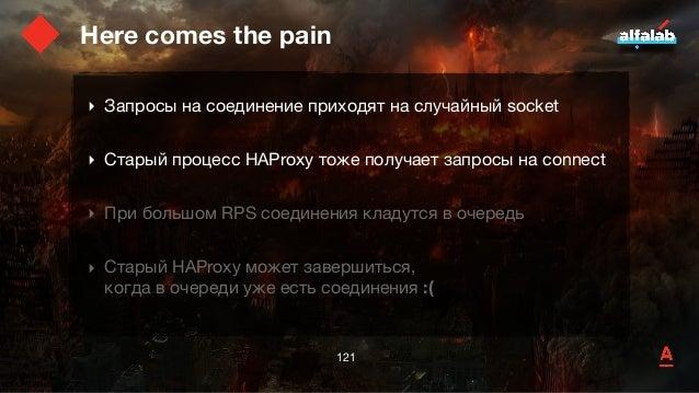Here comes the pain ‣ Запросы на соединение приходят на случайный socket  ‣ Старый процесс HAProxy тоже получает запросы н...