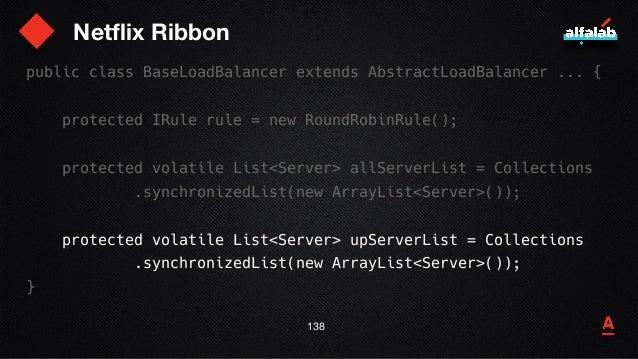Netflix Ribbon 139 Timer lbTimer = // …; void setupPingTask() { lbTimer.schedule( new PingTask(), 0, pingIntervalSeconds *...