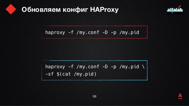 Обновляем конфиг HAProxy 60 haproxy -f /my.conf -D -p /my.pid haproxy -f /my.conf -D -p /my.pid  -sf $(cat /my.pid)