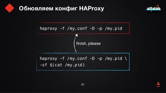 Обновляем конфиг HAProxy 62 haproxy -f /my.conf -D -p /my.pid haproxy -f /my.conf -D -p /my.pid  -sf $(cat /my.pid) finish...