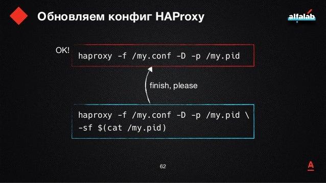 Обновляем конфиг HAProxy 63 haproxy -f /my.conf -D -p /my.pid haproxy -f /my.conf -D -p /my.pid  -sf $(cat /my.pid) finish...