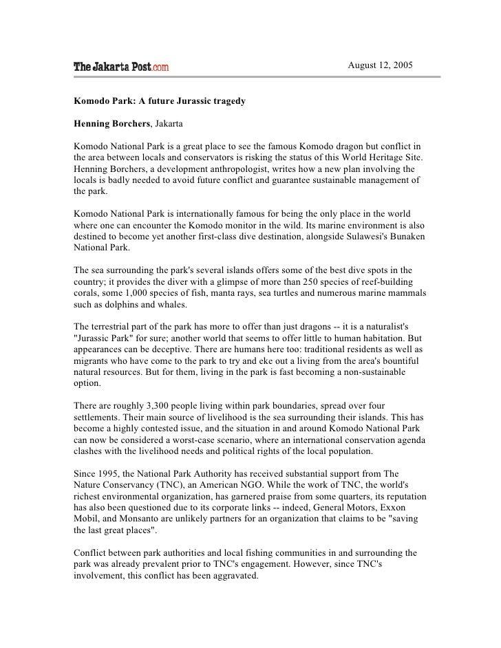August 12, 2005   Komodo Park: A future Jurassic tragedy  Henning Borchers, Jakarta  Komodo National Park is a great place...