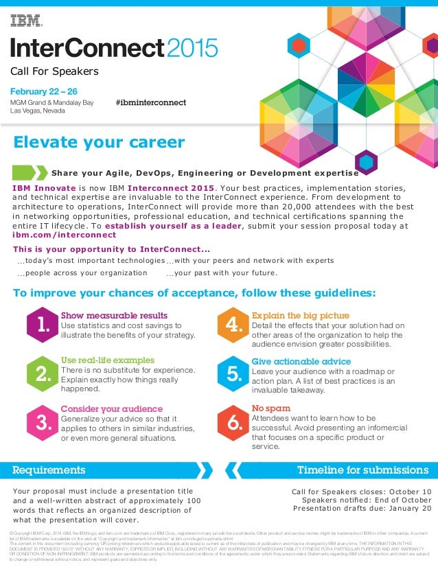 Call For Speakers  Elevate your career  Share your Agile, DevOps, Engineering or Development expertise  IBM Innovate is no...