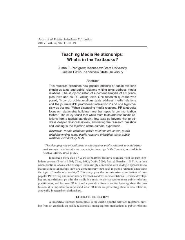 Teaching Media Relationships: What's in the Textbooks? Justin E. Pettigrew, Kennesaw State University Kristen Heflin, Kenn...