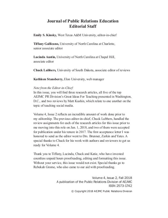 Volume 4, Issue 2, Fall 2018 A publication of the Public Relations Division of AEJMC ISSN 2573-1742 © Copyright 2018 AEJMC...