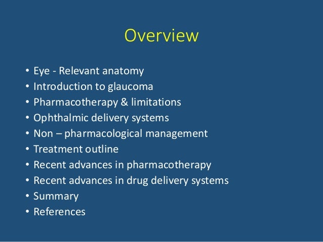 Pharmacotherapy Recent Advances In Glaucoma Management