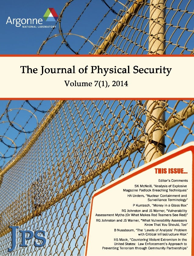 Table  of  Contents  Journal  of  Physical  Security,  Volume  7(1),  2014  Editor's  Comments,  pages  i-‐viii  Paper  1...