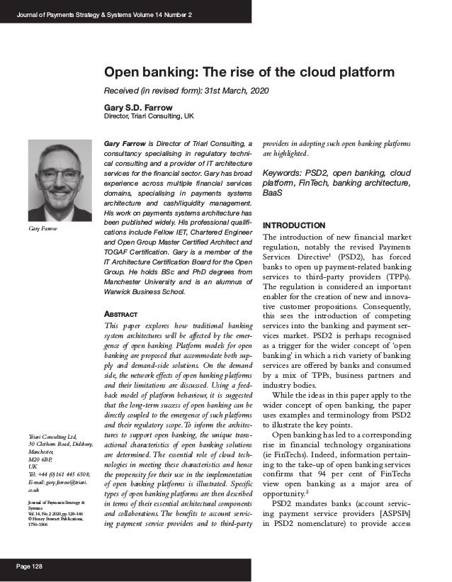 Journal of Payments Strategy & Systems Volume 14 Number 2 Page 128 Open banking: The rise of the cloud platform Received (...