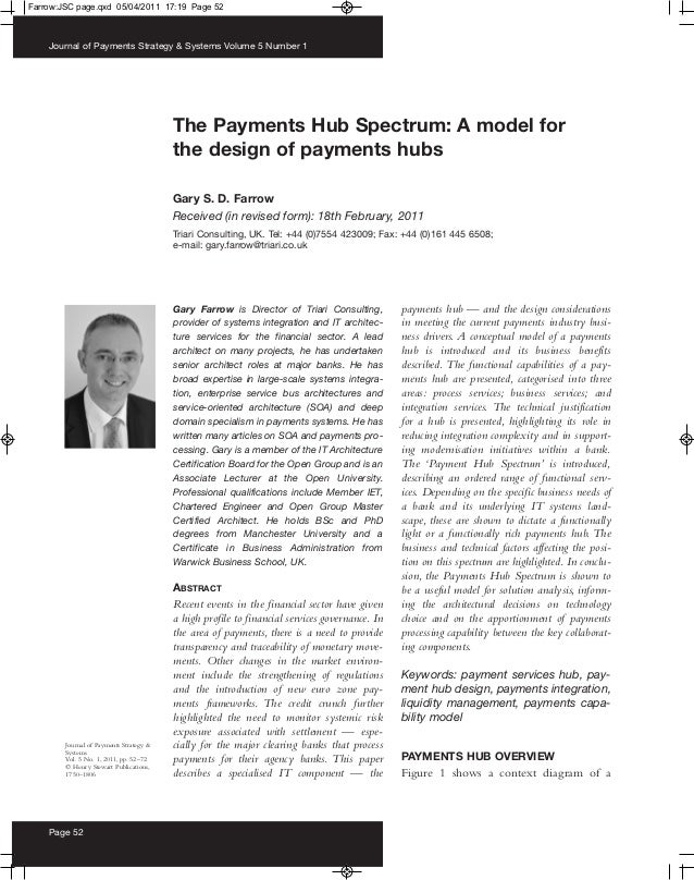 Farrow:JSC page.qxd 05/04/2011 17:19 Page 52    Journal of Payments Strategy & Systems Volume 5 Number 1                  ...