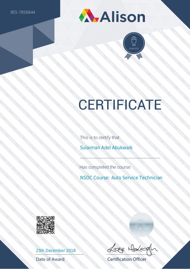 Alison Certificate 955 7856644