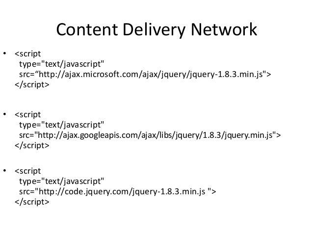 """Content Delivery Network• <script   type=""""text/javascript""""   src=""""http://ajax.microsoft.com/ajax/jquery/jquery-1.8.3.min.j..."""