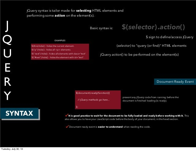 J Q U E R Y SYNTAX Document Ready Event jQuery syntax is tailor made for selecting HTML elements and performing some actio...