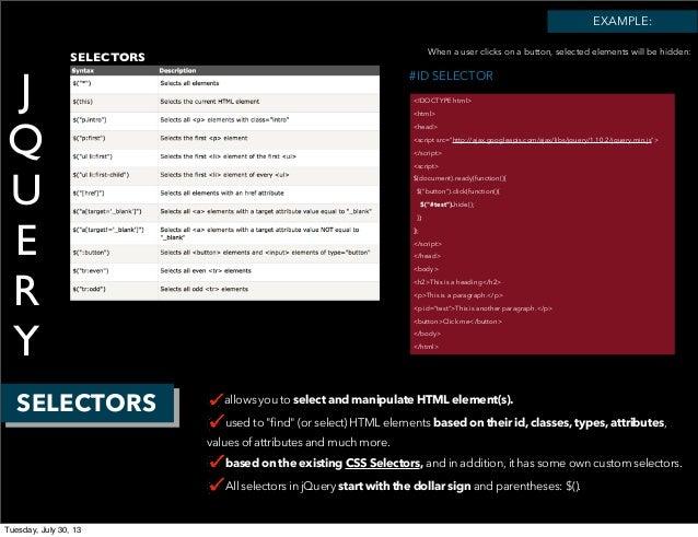 """J Q U E R Y SELECTORS #ID SELECTOR <!DOCTYPE html> <html> <head> <script src=""""http://ajax.googleapis.com/ajax/libs/jquery/..."""