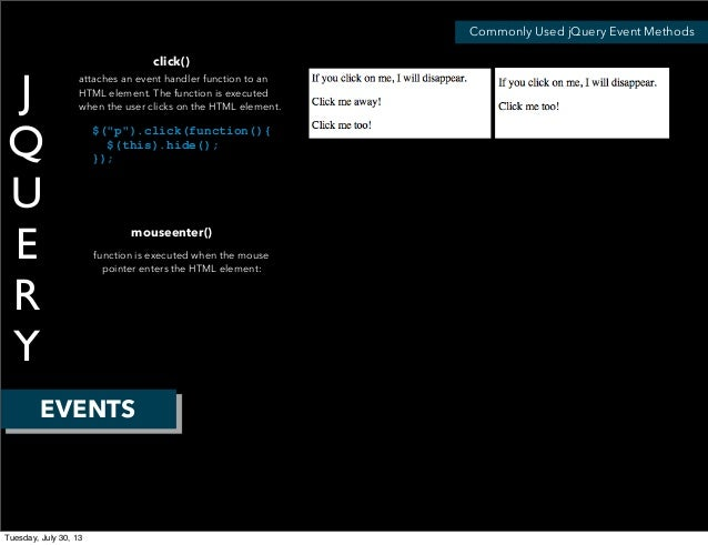 J Q U E R Y EVENTS Commonly Used jQuery Event Methods click() attaches an event handler function to an HTML element. The ...