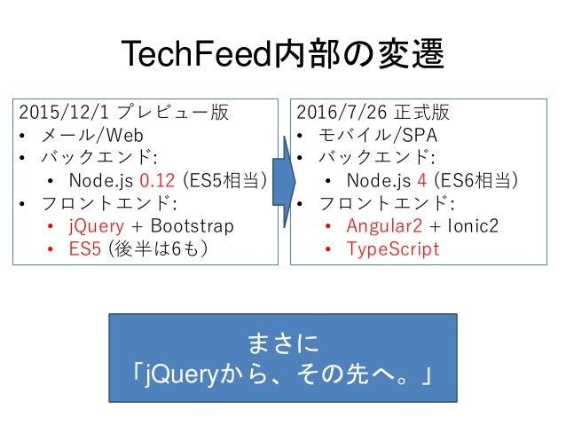TechFeed内部の変遷 2016/7/26 正式版 • モバイル/SPA • バックエンド: • Node.js 4 (ES6相当) • フロントエンド: • Angular2 + Ionic2 • TypeScript 2015/12/1...