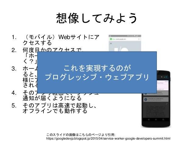 想像してみよう 1. (モバイル)Webサイトにア クセスする 2. 何度目かのアクセスで、 「ホームスクリーンに入れと く?」と聞かれる 3. ホームスクリーンから起動す ると、ネイティブアプリと同 様にアドレスバーなしで表示 される。 4....