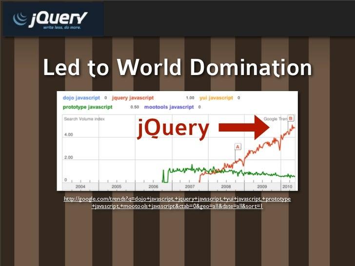 Led to World Domination                               jQuery   http://google.com/trends?q=dojo+javascript,+jquery+javascri...