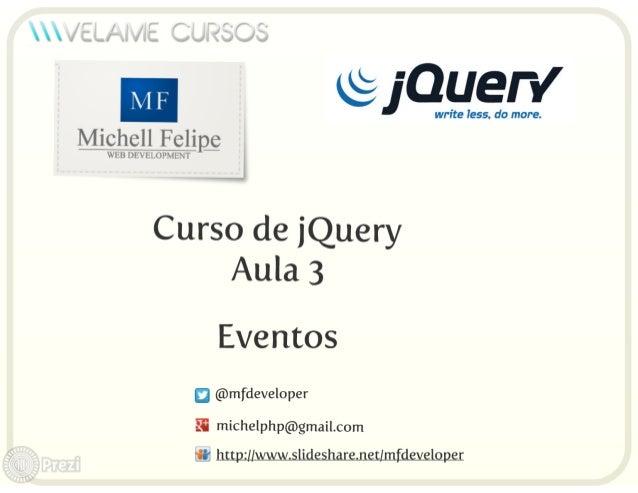 Curso jQuery Aula 3 - Eventos