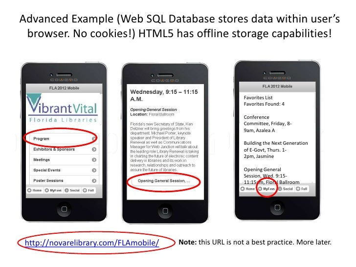 http://www.w3.org/TR/webdatabase/Although Web SQL Database worked on this Web app, the W3C recommends these      storage-r...