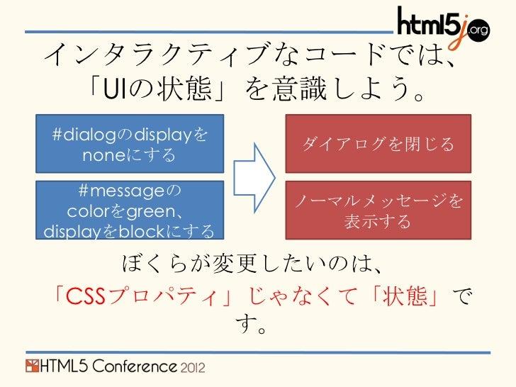 インタラクティブなコードでは、 「UIの状態」を意識しよう。#dialogのdisplayを                   ダイアログを閉じる   noneにする    #messageの                   ノーマルメッ...