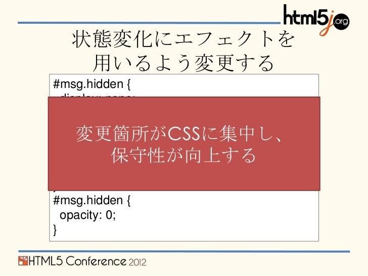 状態変化にエフェクトを    用いるよう変更する#msg.hidden {  display: none;}     変更箇所がCSSに集中し、#msg {            保守性が向上する  opacity: 1;  transitio...