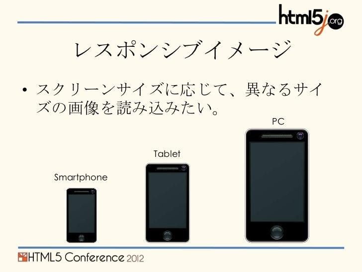 レスポンシブイメージ• スクリーンサイズに応じて、異なるサイ  ズの画像を読み込みたい。                        PC               Tablet  Smartphone