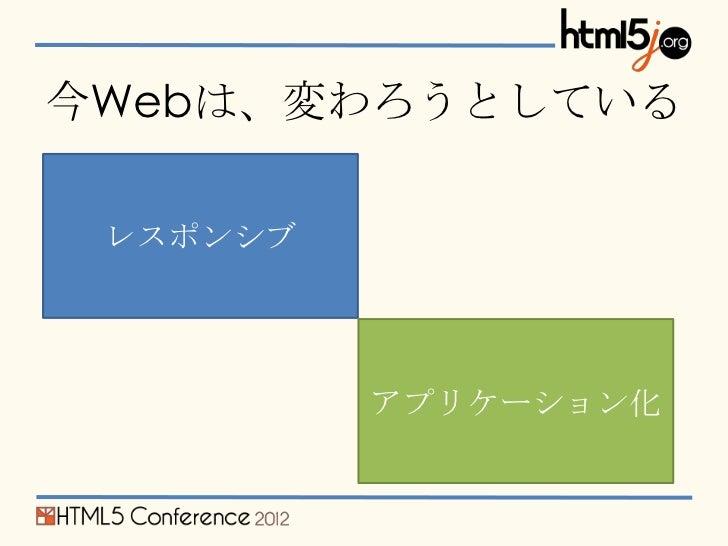 今Webは、変わろうとしている レスポンシブ          アプリケーション化