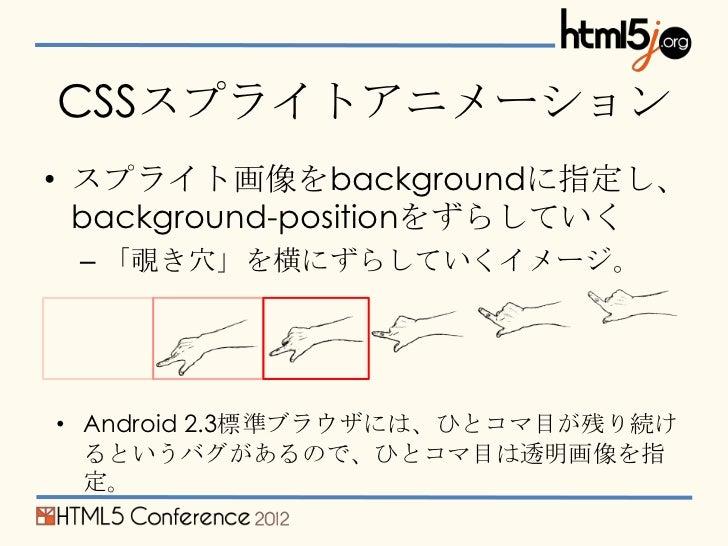 CSSスプライトアニメーション• スプライト画像をbackgroundに指定し、  background-positionをずらしていく – 「覗き穴」を横にずらしていくイメージ。• Android 2.3標準ブラウザには、ひとコマ目が残り続け...