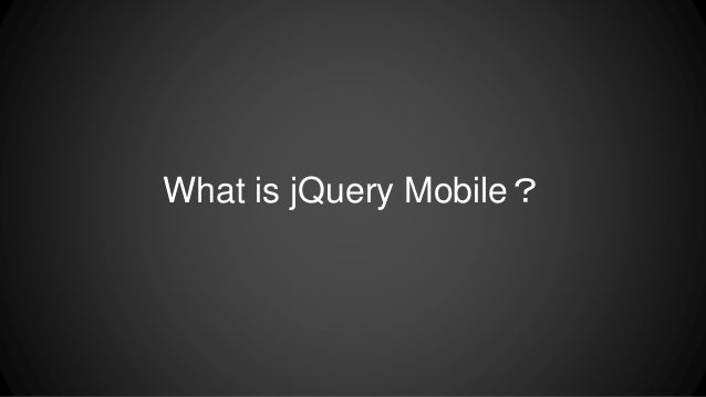 jQuery Mobile Introduction ( demo on EZoapp )